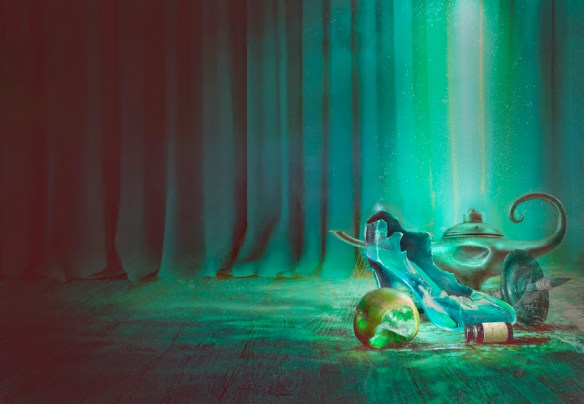 shattering the glass slipper cover image green background with various items in corner such as a broken glass shoe and dented lamp