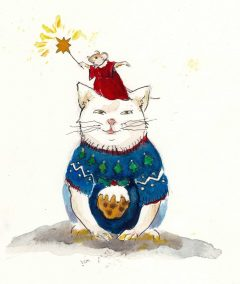 cat-and-mouse-on-head-advent-drawing