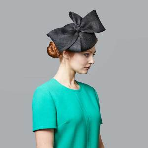 Black straw pillbox with bow
