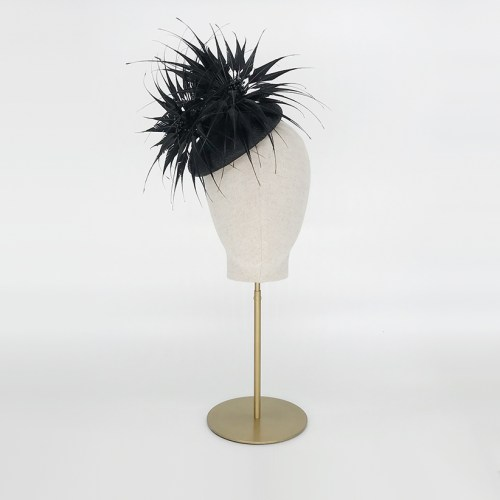 Black straw pillbox with feather flowers