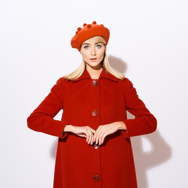 Burnt orange pom pom beret