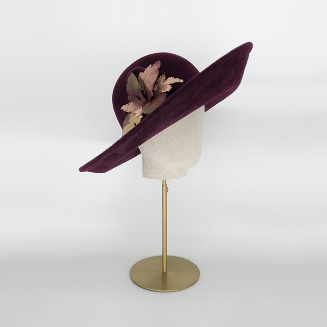 Maroon felt side sweep with gold leaves