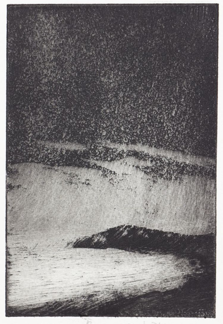 Etching of wind and rain at Sharpitor, Salcombe - cv page