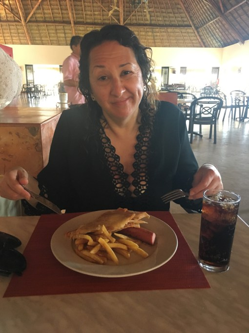 Sue, looking less than thrilled with her meal