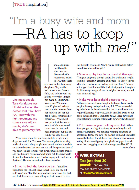 Fellow Ra Chick Tara Manriquez Featured In Health Monitor S Arthritis Magazine Ra Chicks