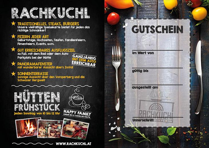 Ein Gutschein für Kulinarisches in der RachKuchl am Vomperberg