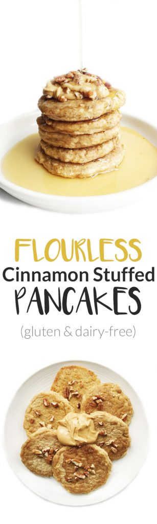 Flourless Cinnamon Stuffed Pancakes