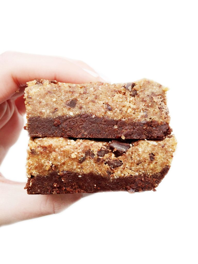 Vegan, Gluten, & Grain Free No-Bake Chocolate Chip Cookie Brownie Bars made with 8 ingredients