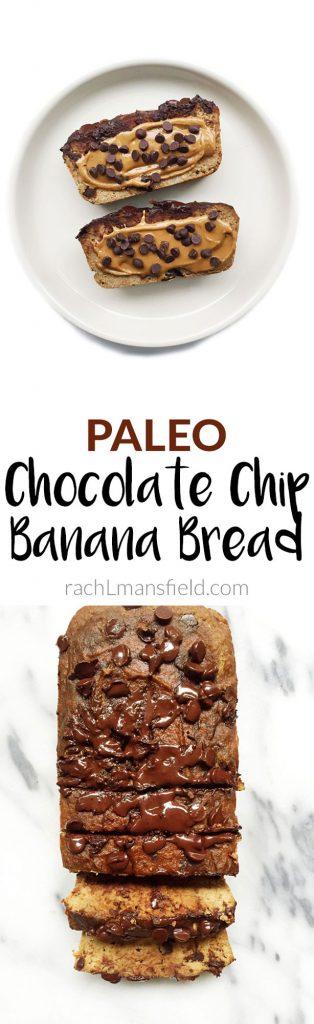 Paleo Chocolate Chip Banana Bread that is nut, grain & gluten-free!