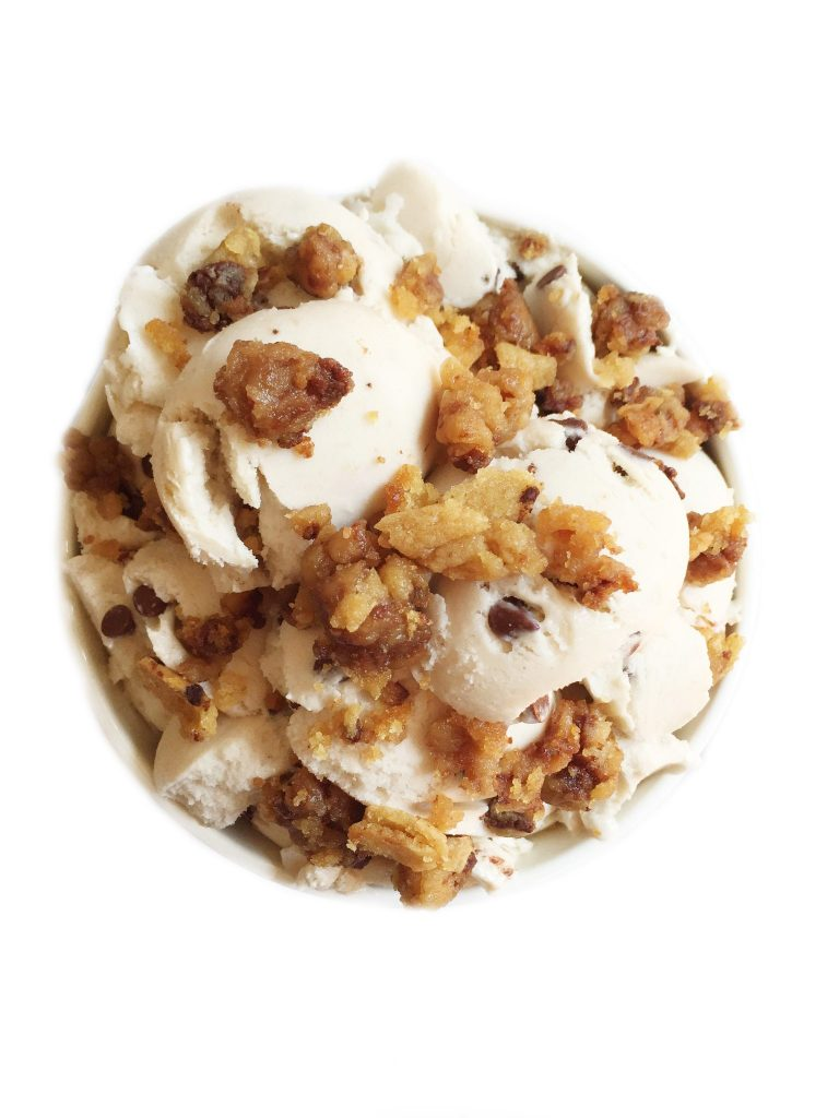 Half Baked Vegan Ice Cream Sundae topped with half baked cookie crumbles