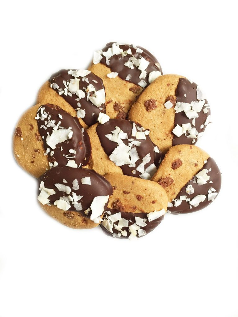 Dark Chocolate Coconut Dipped Cookies by rachLmansfield