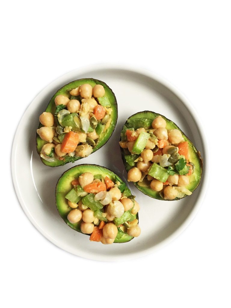 Vegan, Gluten & Grain-free Chickpea Salad Stuffed Avocados