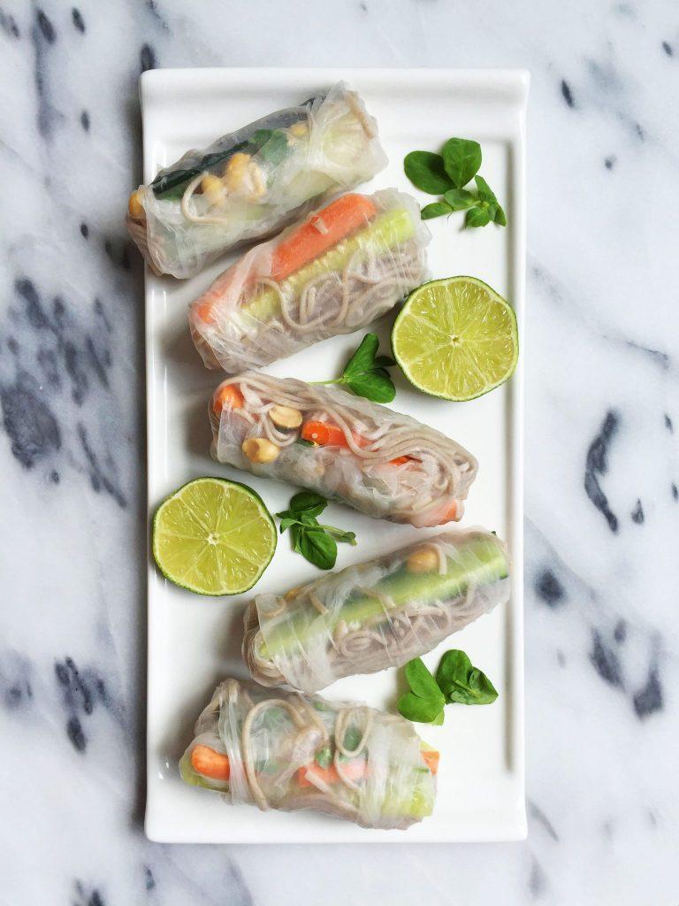 Easy Vegan &Gluten-free Soba Noodle Spring Rolls with Creamy Peanut Sauce
