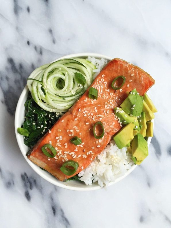 Sesame Ginger Salmon Rice Bowls ready in less than 30 minutes, gluten & dairy-free