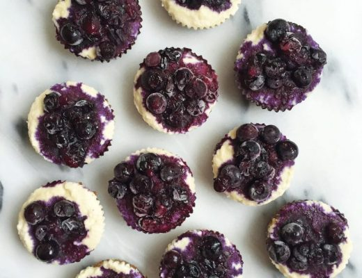No-bake Blueberry Cheesecakes made with less than 10 ingredients