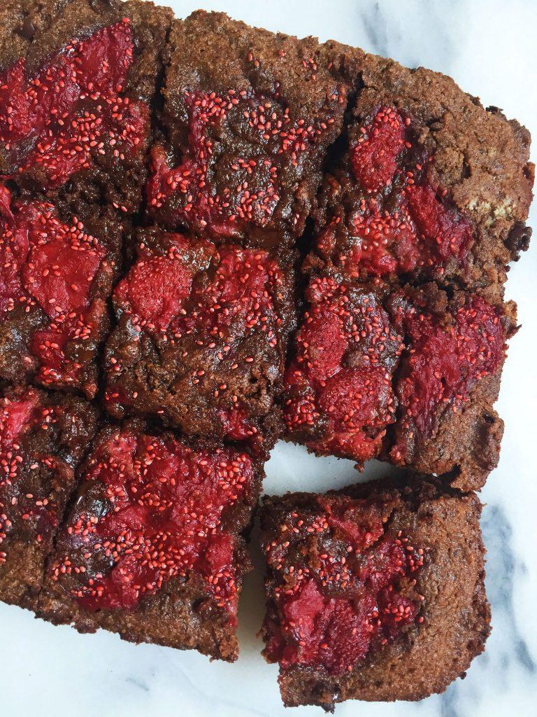 Flourless Dark Chocolate Strawberry Fudge Brownies