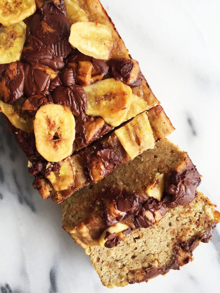 Flourless Peanut Butter Cup Banana Bread made gluten & dairy-free!