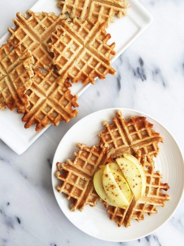 6-ingredient Flourless Apple Cinnamon Waffles that are vegan friendly and gluten-free