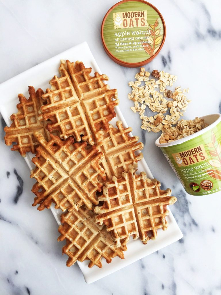 6-ingredient Flourless Apple Cinnamon Waffles that are vegan friendly and gluten-free