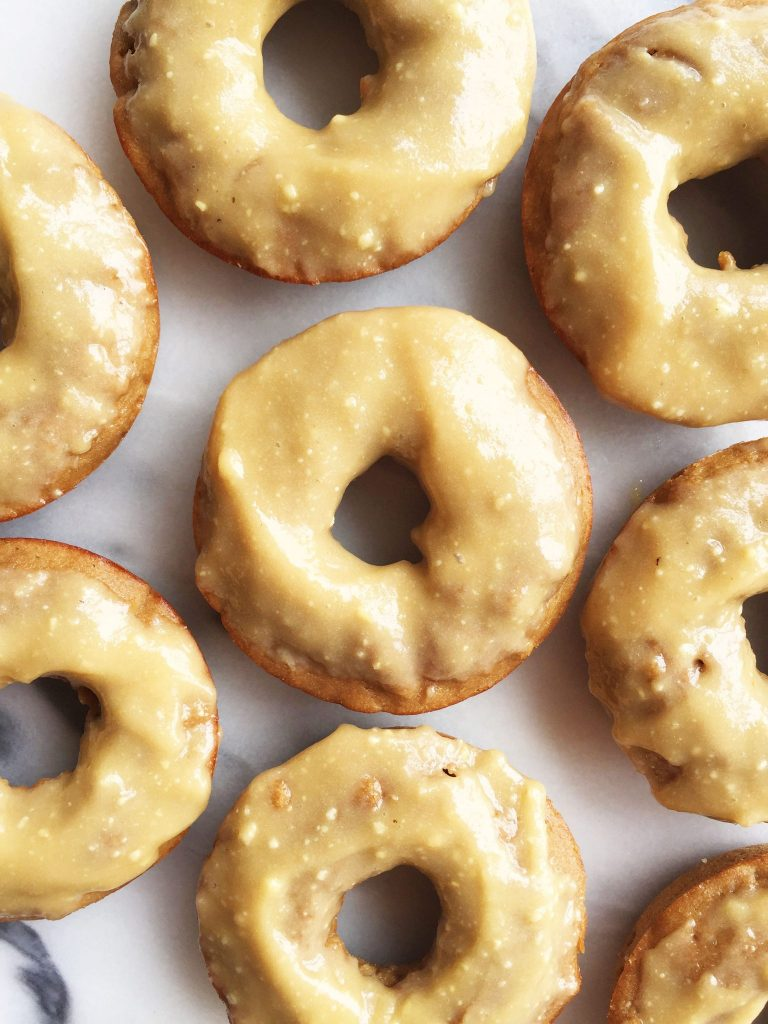 Flourless Apple Cider Donuts with homemade refined sugar-free Maple Glaze