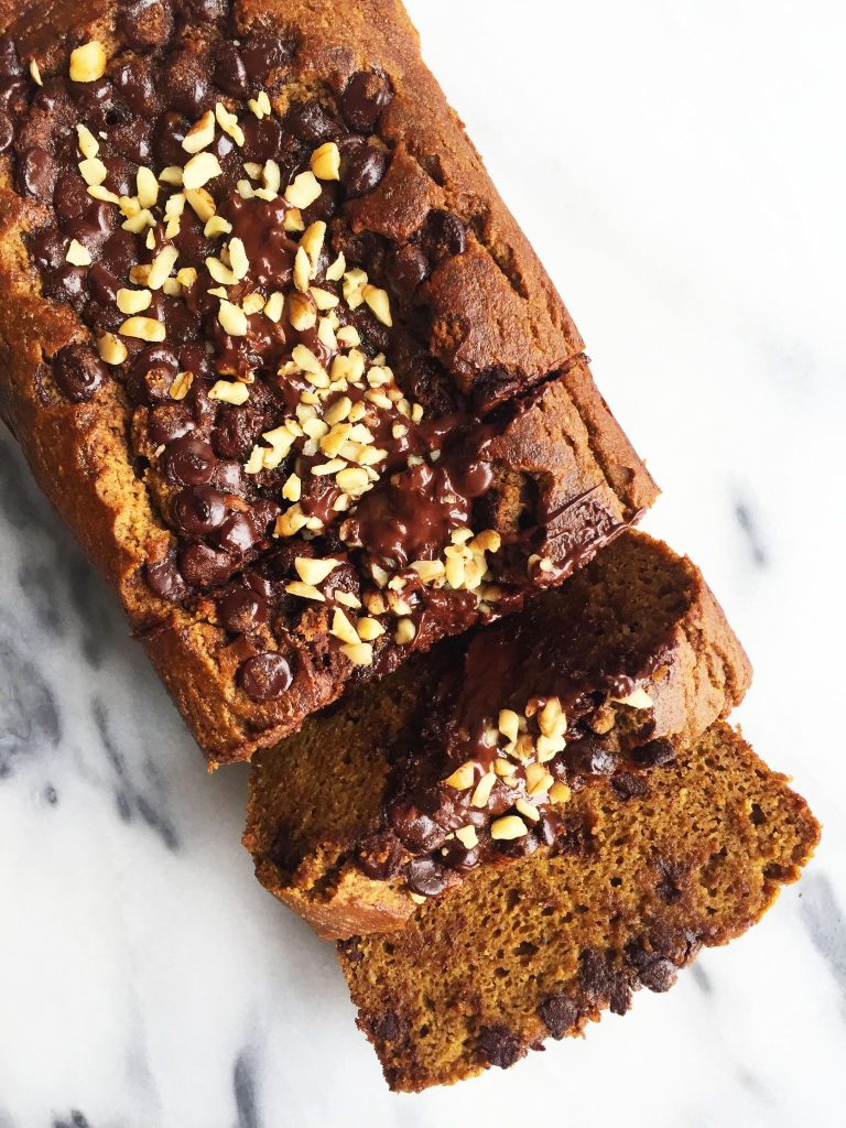 Flourless Pumpkin Bread with Dark Chocolate Streusel that is grain & refined sugar-free