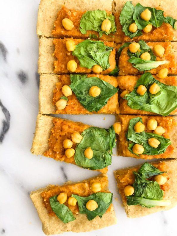 Veggie-Loaded Butternut Squash Pesto Pizza! A vegan and grain free-friendly pizza for a healthy pizza option!