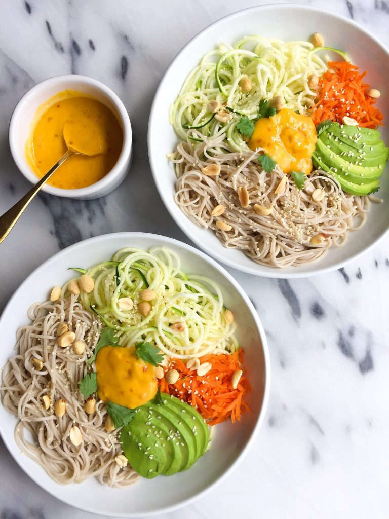 10-minute Soba Noodle Salad with Mango Ginger Dressing for a delicious plant-based salad!