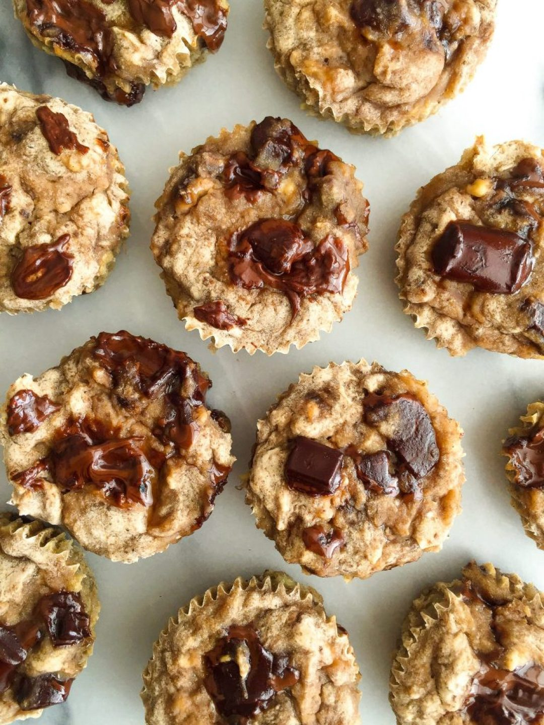 Vegan and Gluten-free Healthy Cinnamon-Spiced Chocolate Chunk Banana Muffins ready in less than 30 minutes