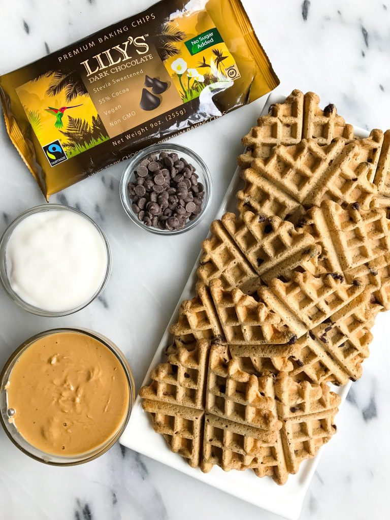 Vegan Peanut Butter Cup Waffles made with Oat Flour