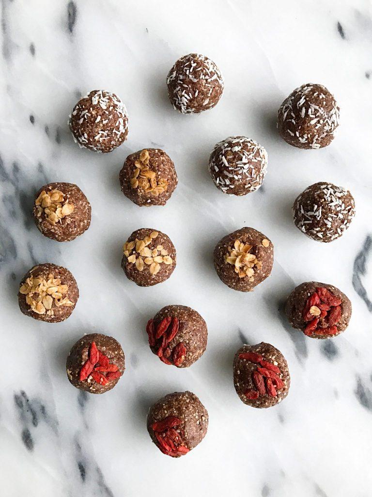 No Bake Cacao Donut Holes that are low sugar, grain free & vegan