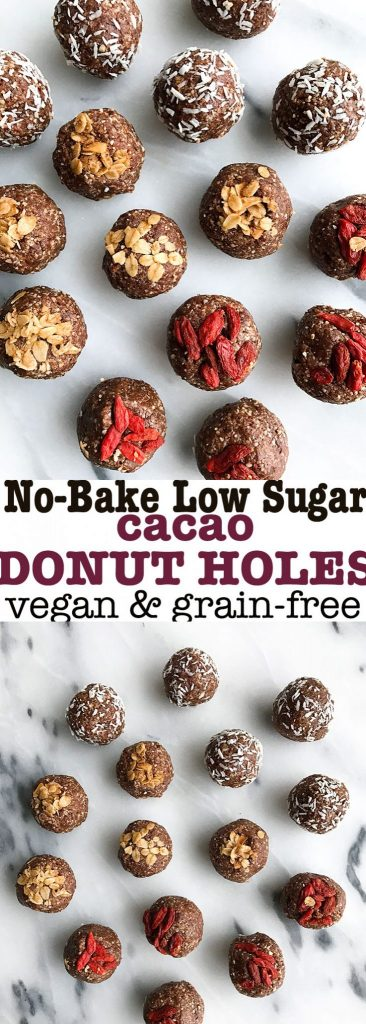 No Bake Cacao Donut Holes for a vegan, low sugar & grain-free snack!