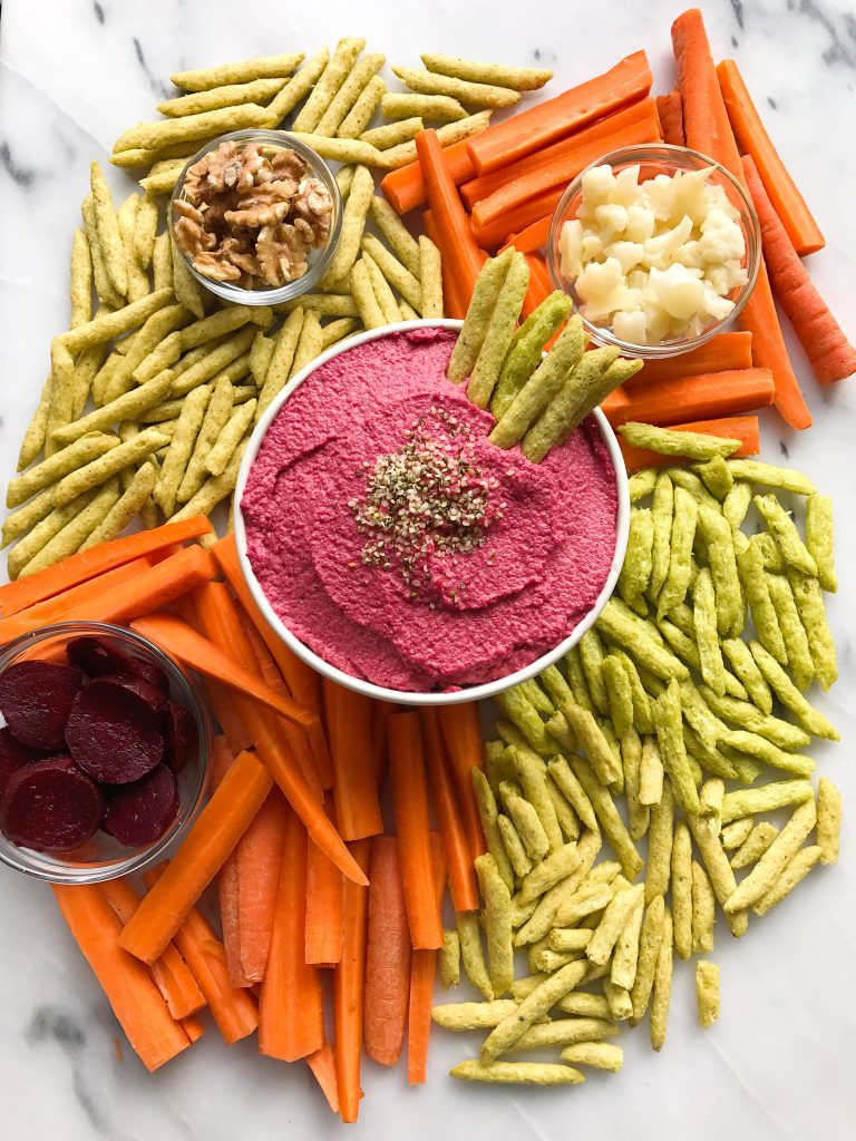 Chickpea-less Beet Hummus made with no beans, no oil for an easy and yummy plant-based dip!