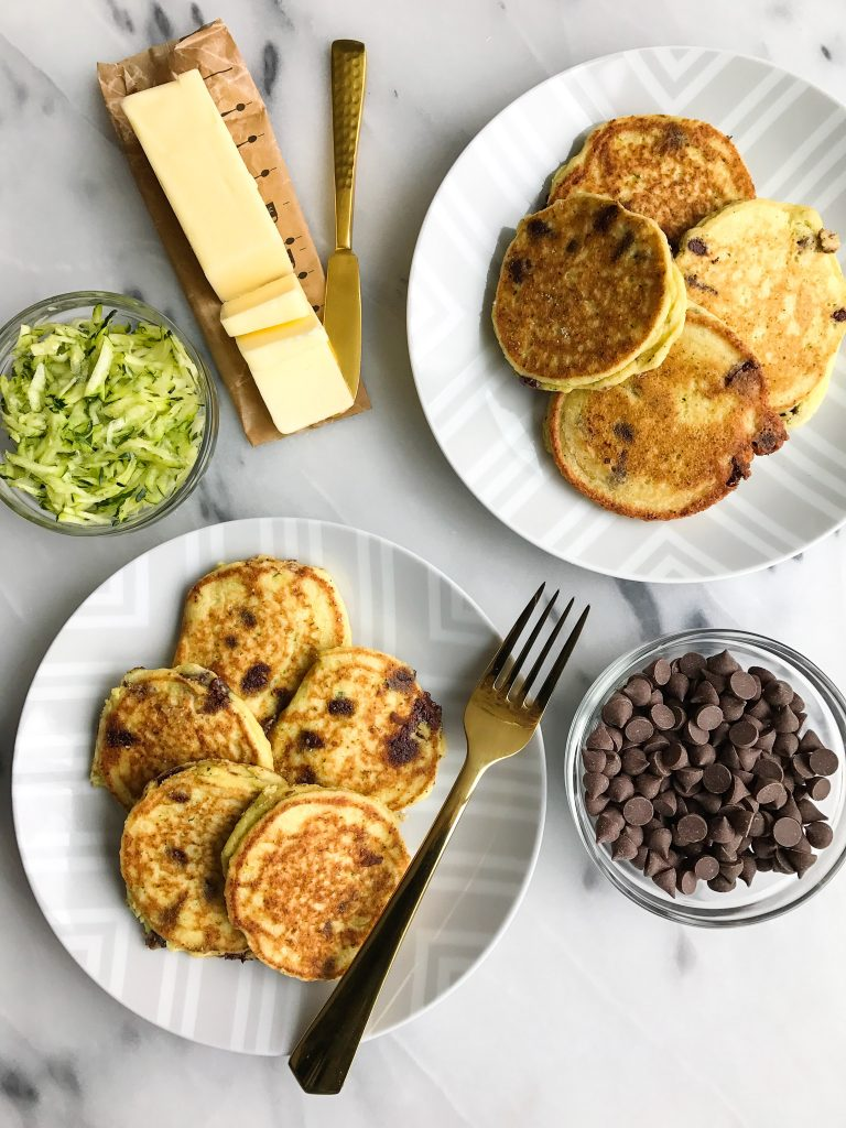 Paleo Chocolate Chip Zucchini Bread Pancakes made with healthy and simple ingredients