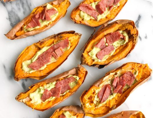 Super Simple Paleo Sweet Potato Skins that are Whole30-friendly and easy to make!