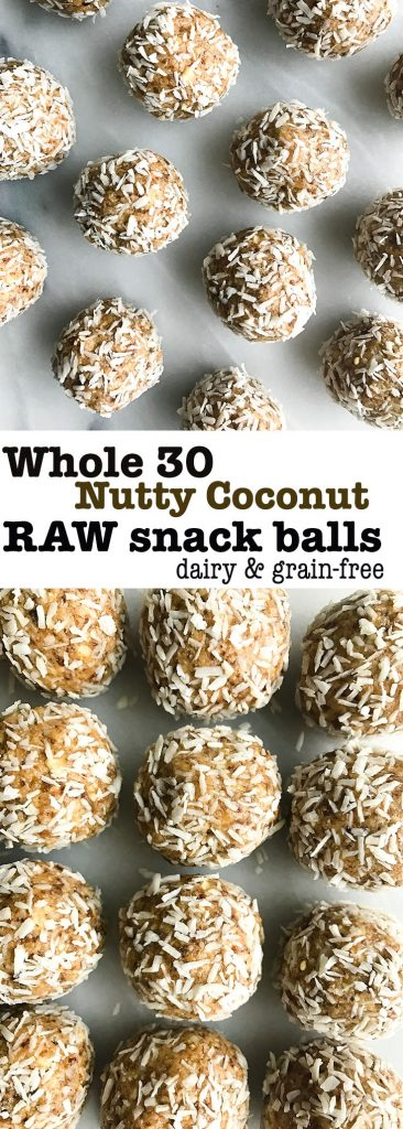 Nutty Coconut Raw Bliss Balls for an easy Whole30-friendly snack made with simple ingredients