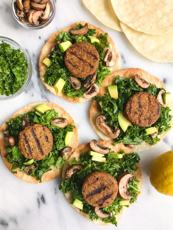 Garlicky Kale Veggie Sausage Tostadas for an easy and delicious plant-based, gluten-free meal