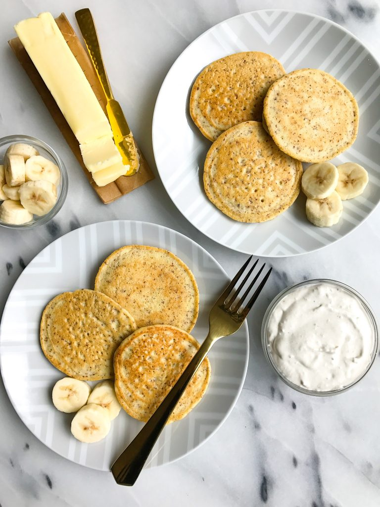 Easy Almond Flour Pancakes with Banana Whipped Cream for an easy, delicious, collagen-packed breakfast!