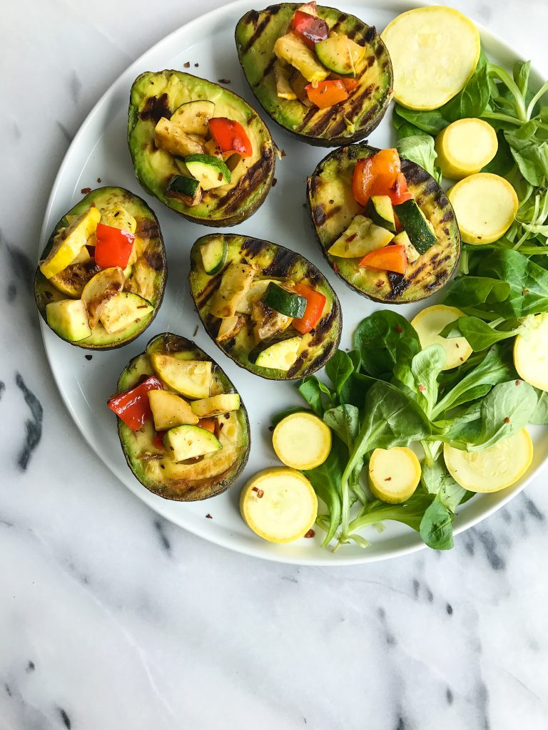 Charred Veggies with Grilled Avocado (vegan + grain-free)