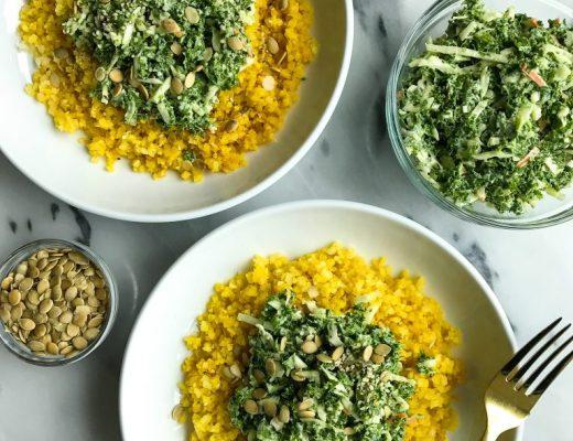 Turmeric Cauliflower Rice Bowl with Crunchy Green Slaw