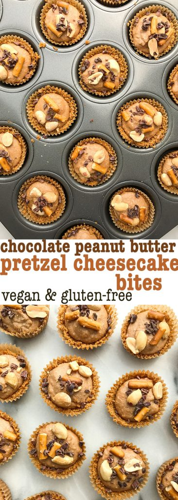 Chocolate Peanut Butter Pretzel Cheesecake Bites made with a gluten-free pretzel crust!