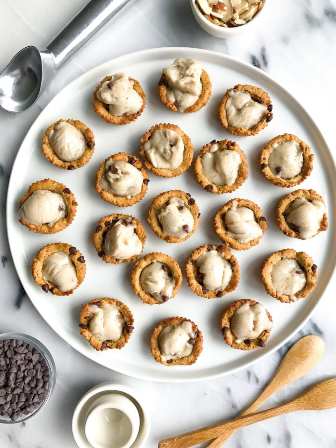 Mini Magical Chocolate Chip Cookie Bowls (grain + dairy-free) filled with almond milk ice cream!