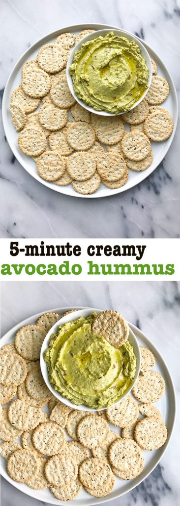 Creamy 5-minute Avocado Hummus that is vegan and gluten-free!