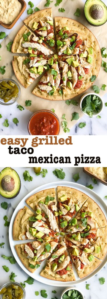 My Favorite Grilled Taco Pizza with Shredded Chicken for a delicious dairy-free pizza recipe!