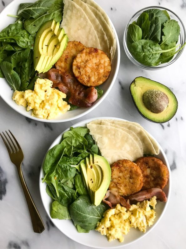 Simple and Delicious Breakfast Taco Bowls with Soft-Scrambled Eggs and Bacon