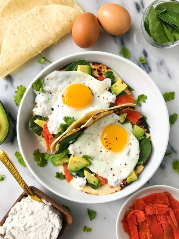 """Savory Breakfast Tacos with Easy Coconut """"Cream Cheese"""" for an easy and delicious breakfast!"""