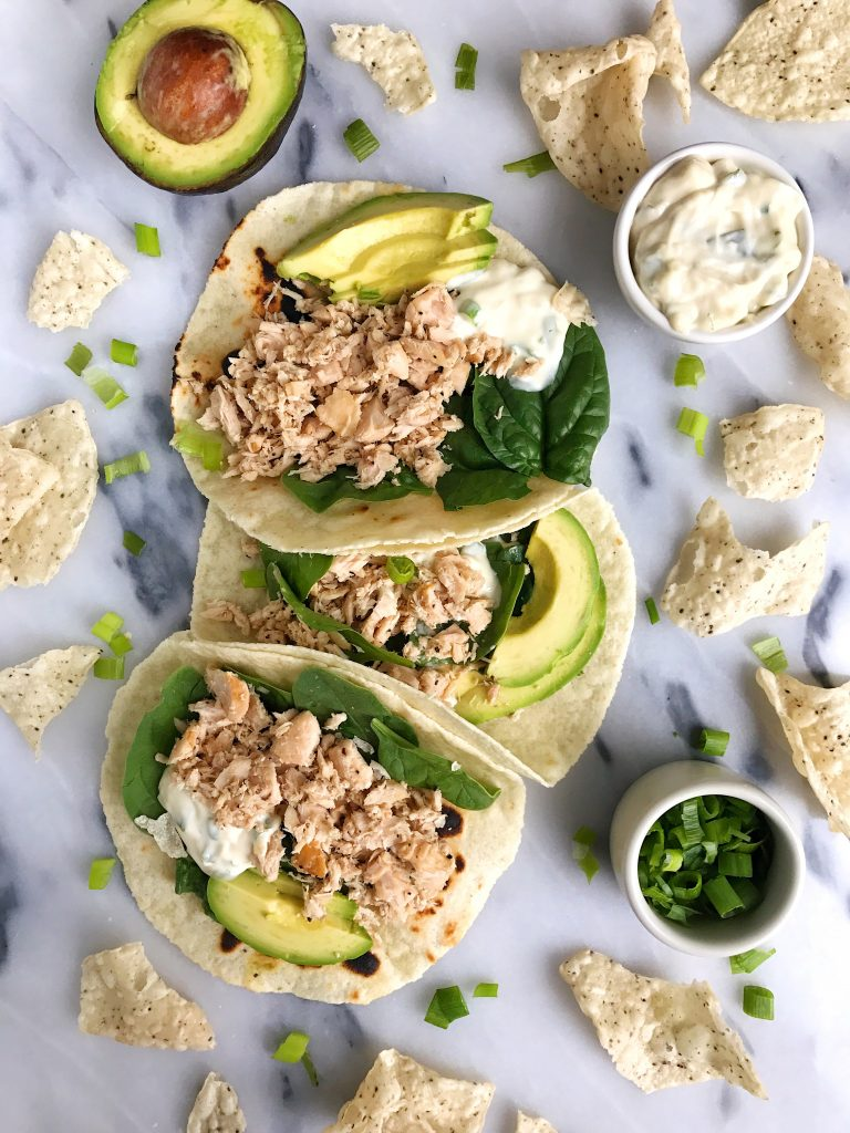 Easy Canned Tuna Tacos with Scallion Crema for an easy gluten + dairy-free recipe!