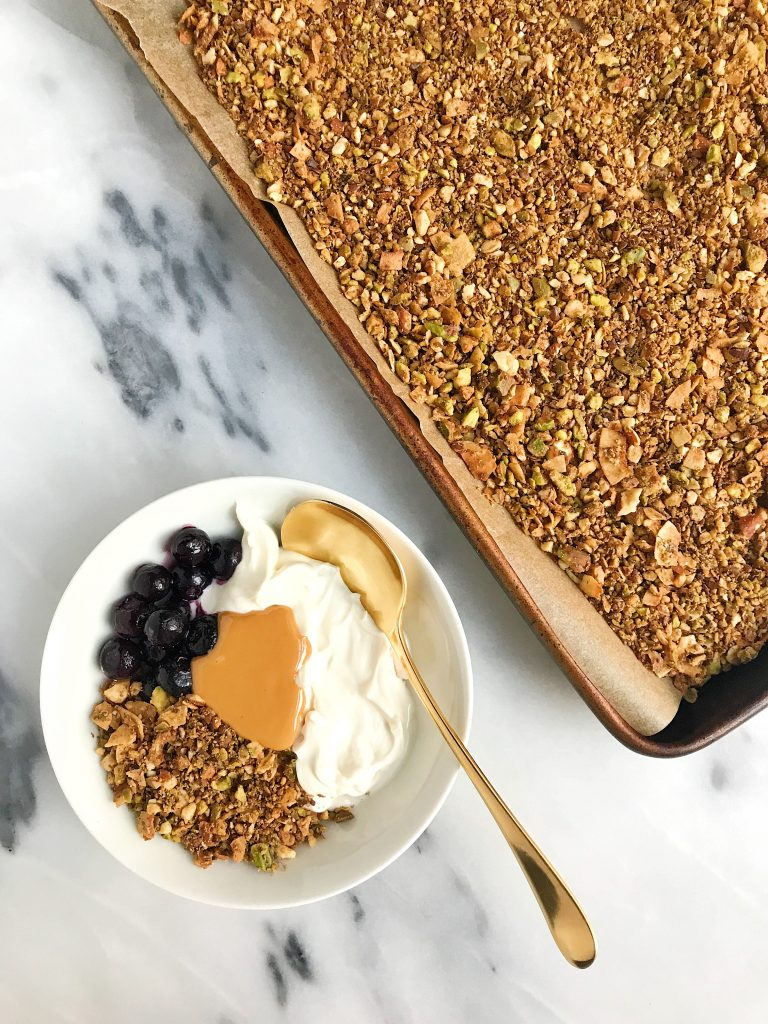 Pistachio Cacao Grain-free Granola that is vegan and sugar-free, perfect for a healthy and easy granola!