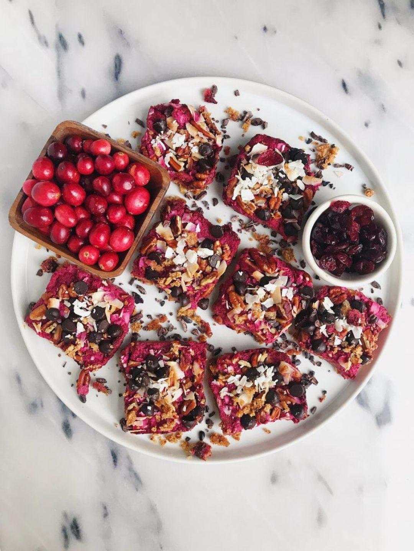 Dark Chocolate Cranberry Magic Cookie Bars that are vegan, gluten-free and lightly sweetened