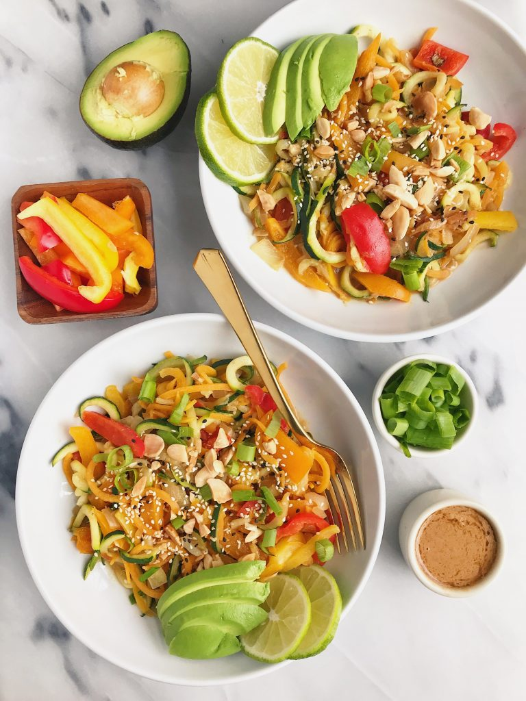 Whole30 Almond Butter Thai Noodles made with bone broth plus bone broth 101!