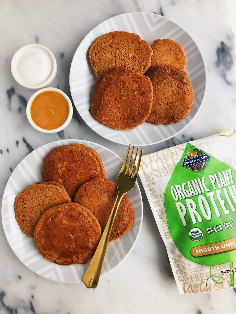 Fluffy Vegan Pancakes that are gluten-free and packed with organic plant-based protein!